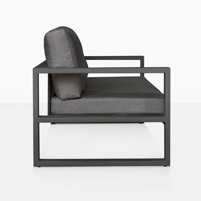 mykonos aluminum sofa in charcoal side view