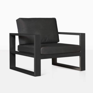 mykonos aluminum club chair in charcoal angle view
