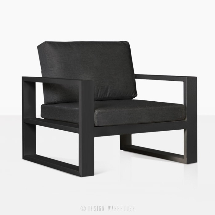 mykonos aluminium club chair in charcoal angle view