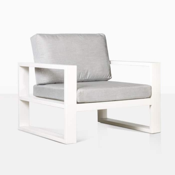 mykonos aluminium club chair in white with grey cushion angle view