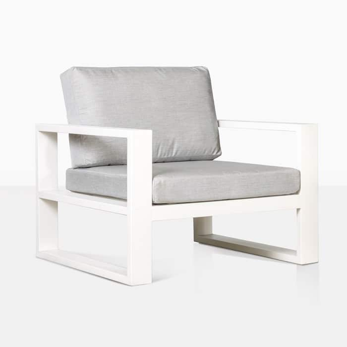 mykonos aluminum club chair in white with grey cushion angle view