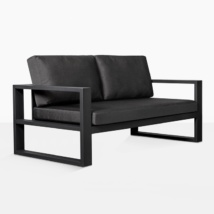 mykonos aluminum loveseat in charcoal angle view