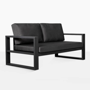 mykonos aluminium loveseat in charcoal angle view