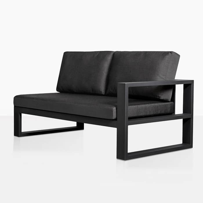 mykonos left arm aluminium loveseat in charcoal angle view