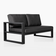 mykonos right arm aluminum loveseat in charcoal angle view