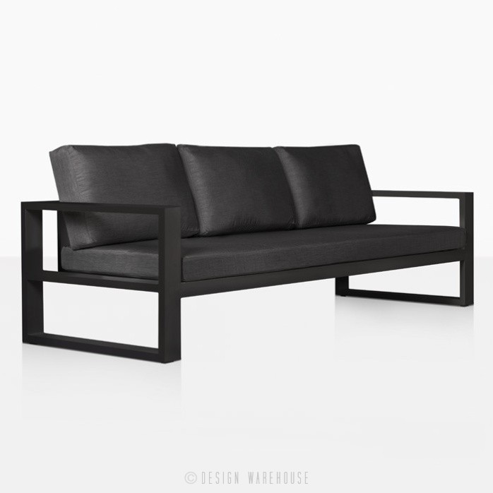 mykonos aluminum sofa in charcoal angle view
