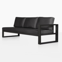 mykonos aluminum left arm chaise style sofa in charcoal angle view
