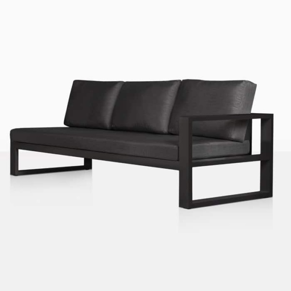 mykonos aluminium left arm chaise style sofa in charcoal angle view