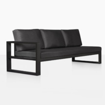 mykonos aluminum right arm sectional sofa in charcoal black angle view