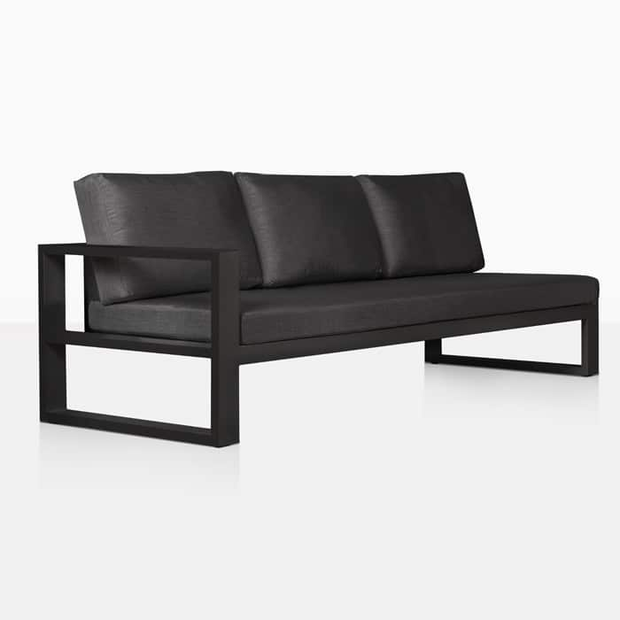 mykonos aluminium right arm sectional sofa in charcoal black angle view