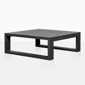 mykonos aluminium square coffee table in charcoal black angle view