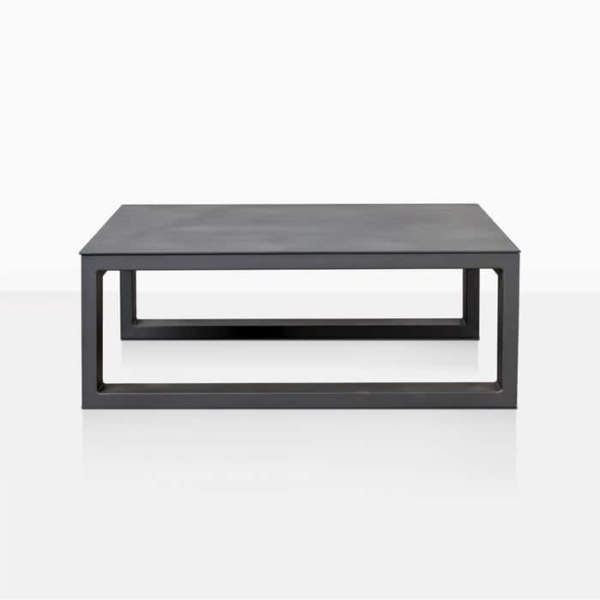 mykonos square outdoor coffee table in charcoal straight view