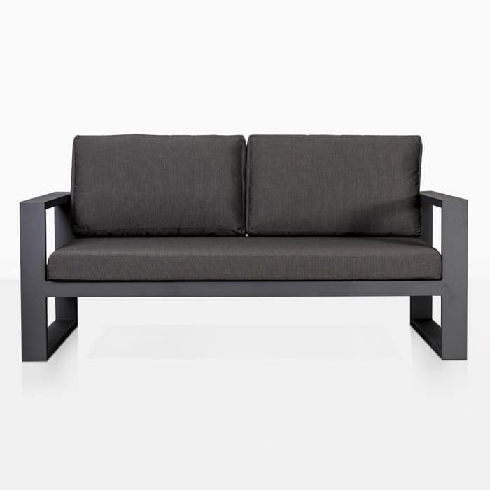 mykonos aluminum loveseat in charcoal front view