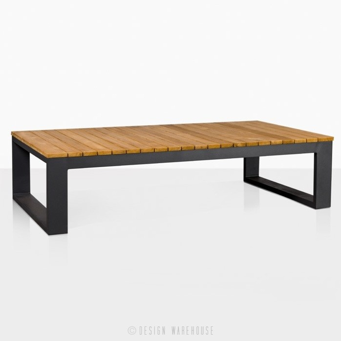 mykonos teak and aluminium rectangular coffee table in charcoal black angle view