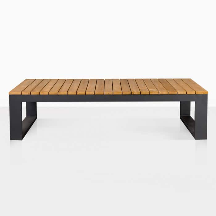 mykonos teak and aluminium rectangular coffee table in charcoal black front view