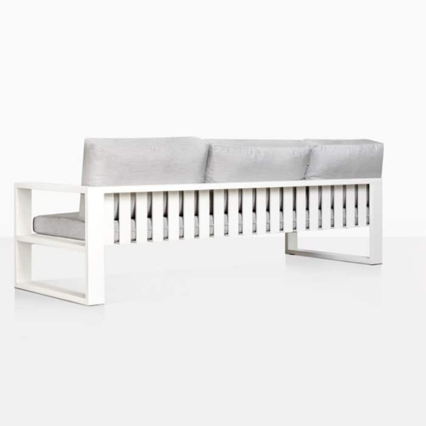 mykonos aluminium left arm sofa in white rear view