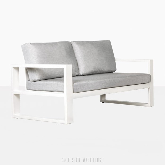 mykonos aluminum loveseat in white angle view