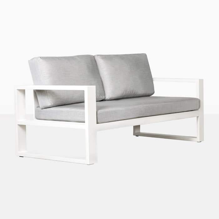 mykonos aluminium loveseat in white angle view