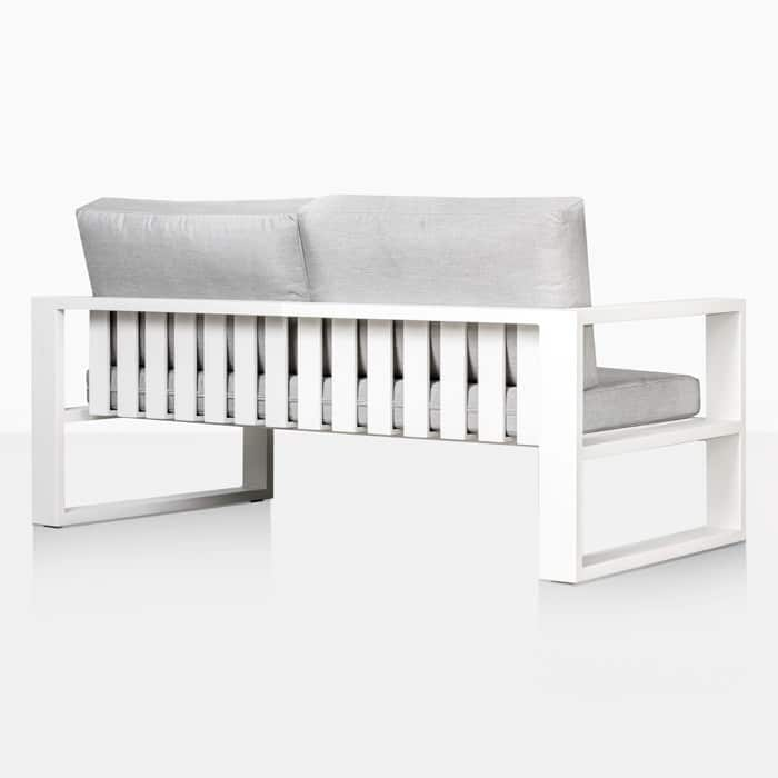 mykonos aluminum loveseat in white rear view