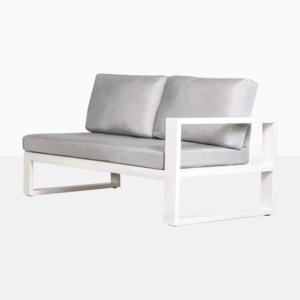 mykonos left arm aluminum loveseat in white angle view