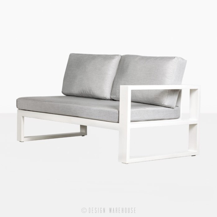 mykonos left arm aluminium loveseat in white angle view