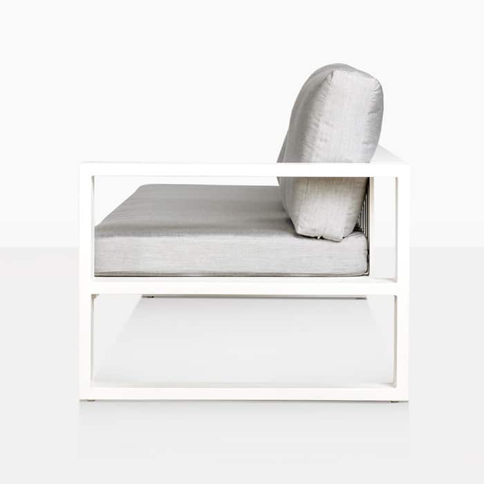 mykonos left arm aluminium loveseat in white side view