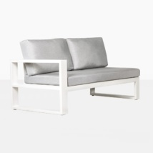 mykonos right arm aluminum loveseat in white angle view