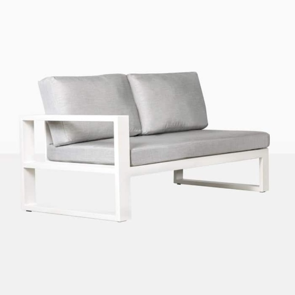 mykonos right arm aluminium loveseat in white angle view