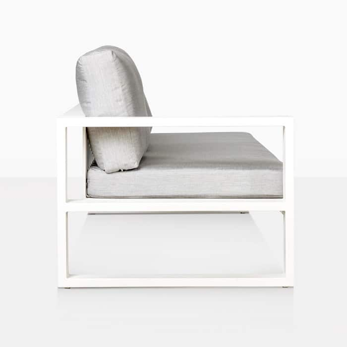 mykonos right arm aluminum loveseat in white side view