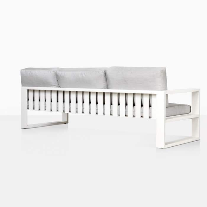 mykonos aluminum right arm sofa in white rear view