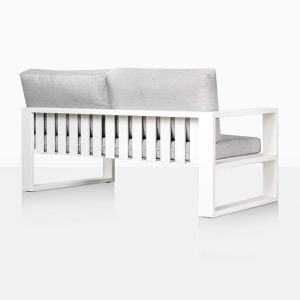 mykonos right arm aluminium loveseat in white rear view