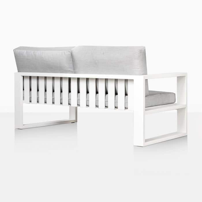 mykonos right arm aluminum loveseat in white rear view