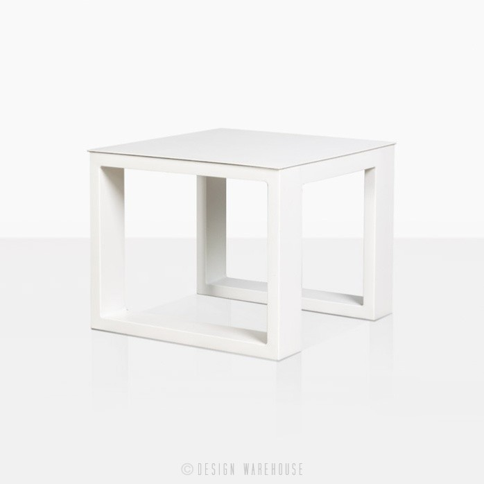 Mykonos aluminium side table in white angle view
