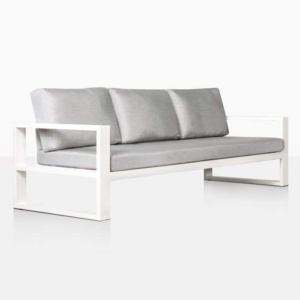 mykonos aluminium outdoor sofa in white angle view
