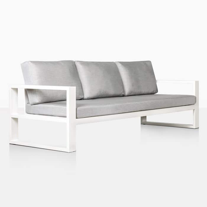 mykonos aluminum outdoor sofa in white angle view