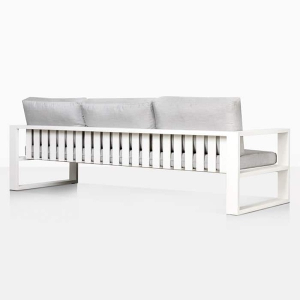 mykonos aluminium patio sofa in white rear view