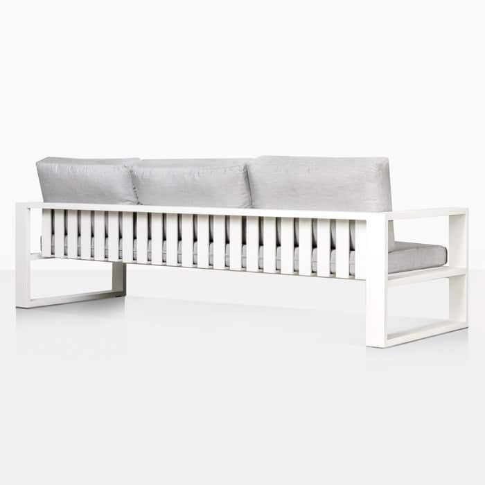 mykonos aluminum patio sofa in white rear view