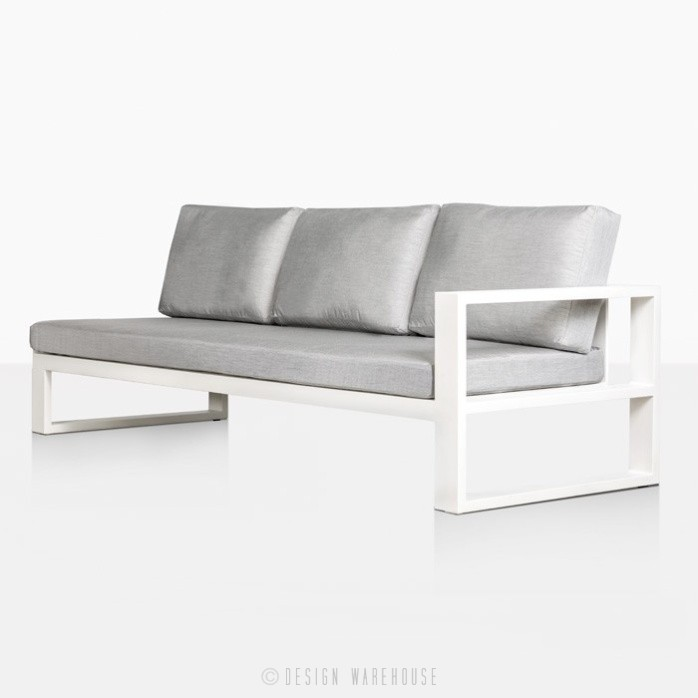 mykonos aluminium left arm sofa in white angle view
