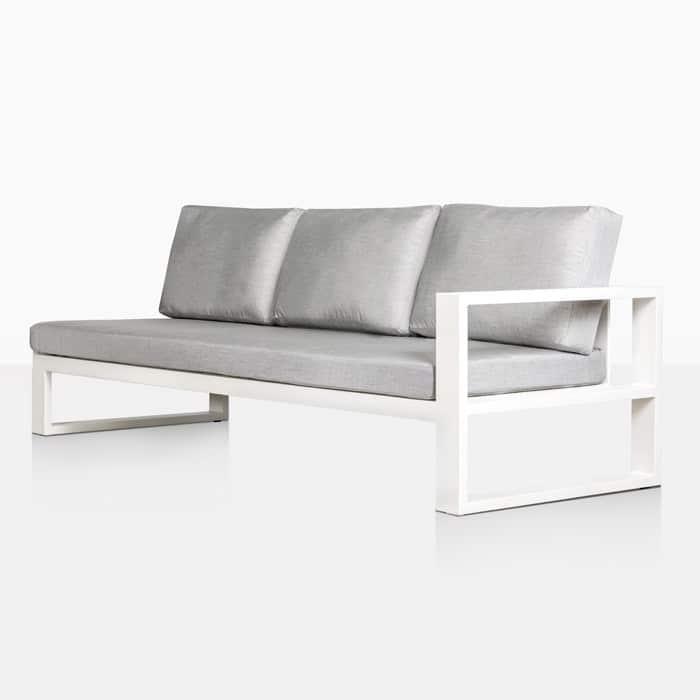 mykonos aluminum left arm sofa in white angle view