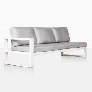 mykonos aluminium right arm sofa in white angle view