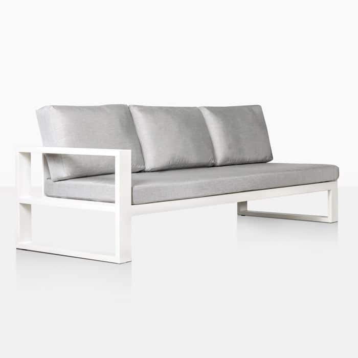 mykonos aluminum right arm sofa in white angle view