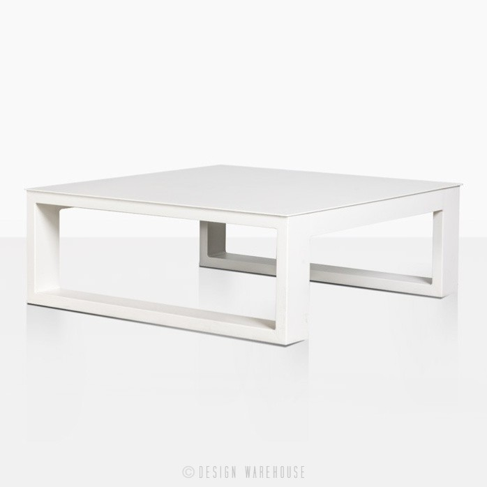 mykonos aluminum square coffee table in white angle view