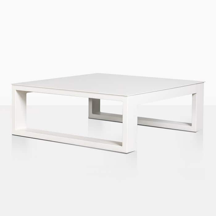 mykonos aluminium square coffee table in white angle view