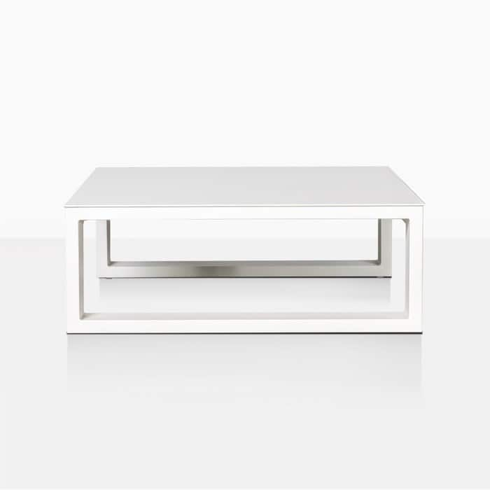 mykonos aluminium square coffee table in white straight view