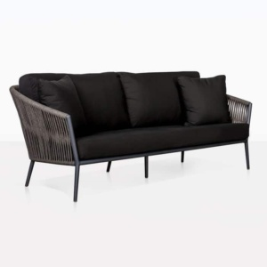 Washington Rope Outdoor Sofa black angle view