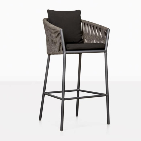 Washington Rope Outdoor Bar Stool black front angle view