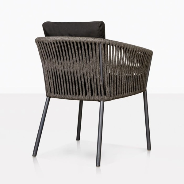 Washington Rope Outdoor Dining Chair black Back view