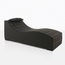 club 21 sun lounger in black pattern angle view