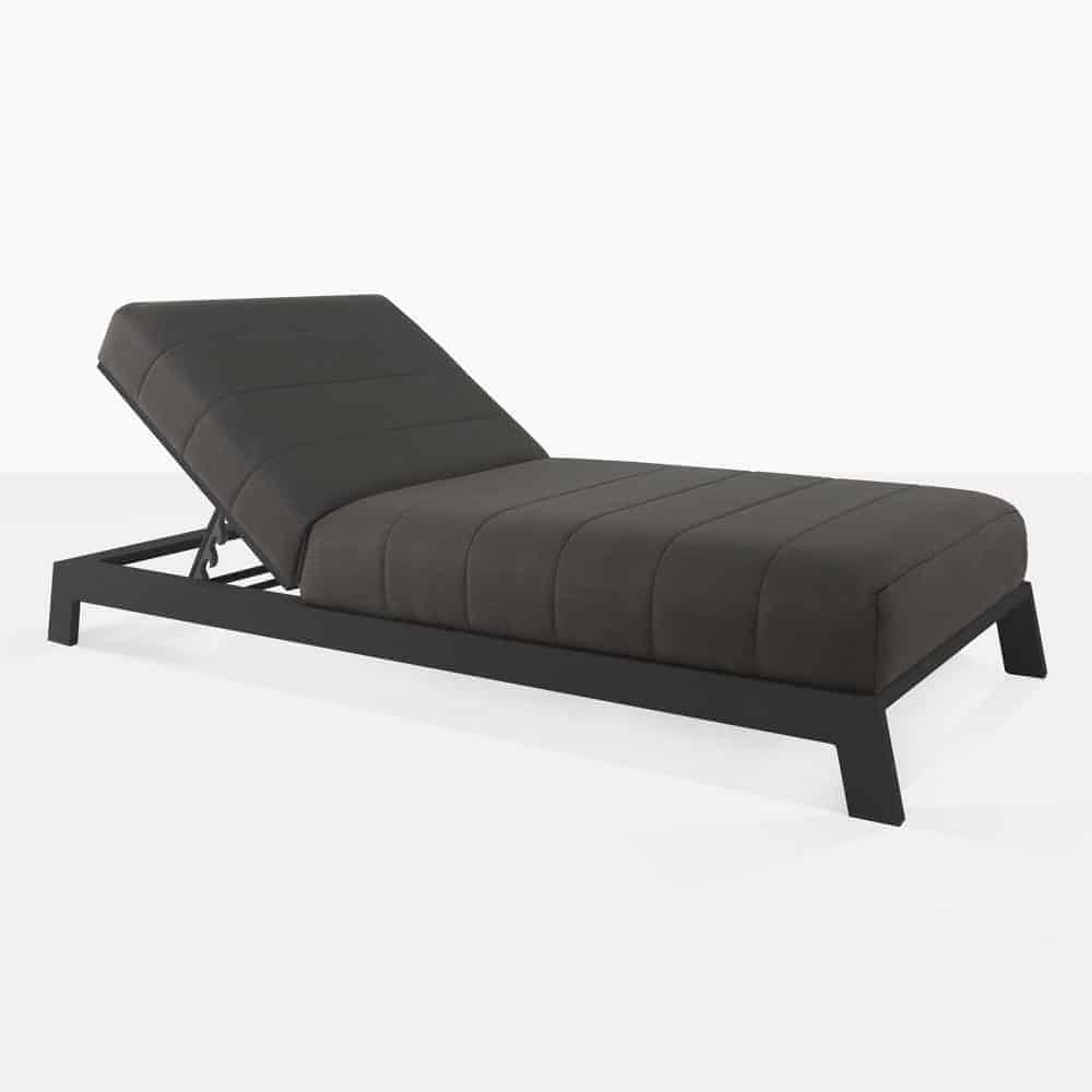 montgomery aluminum sun lounger in black angle view