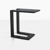 montgomery c-shaped aluminum side table in black angle view
